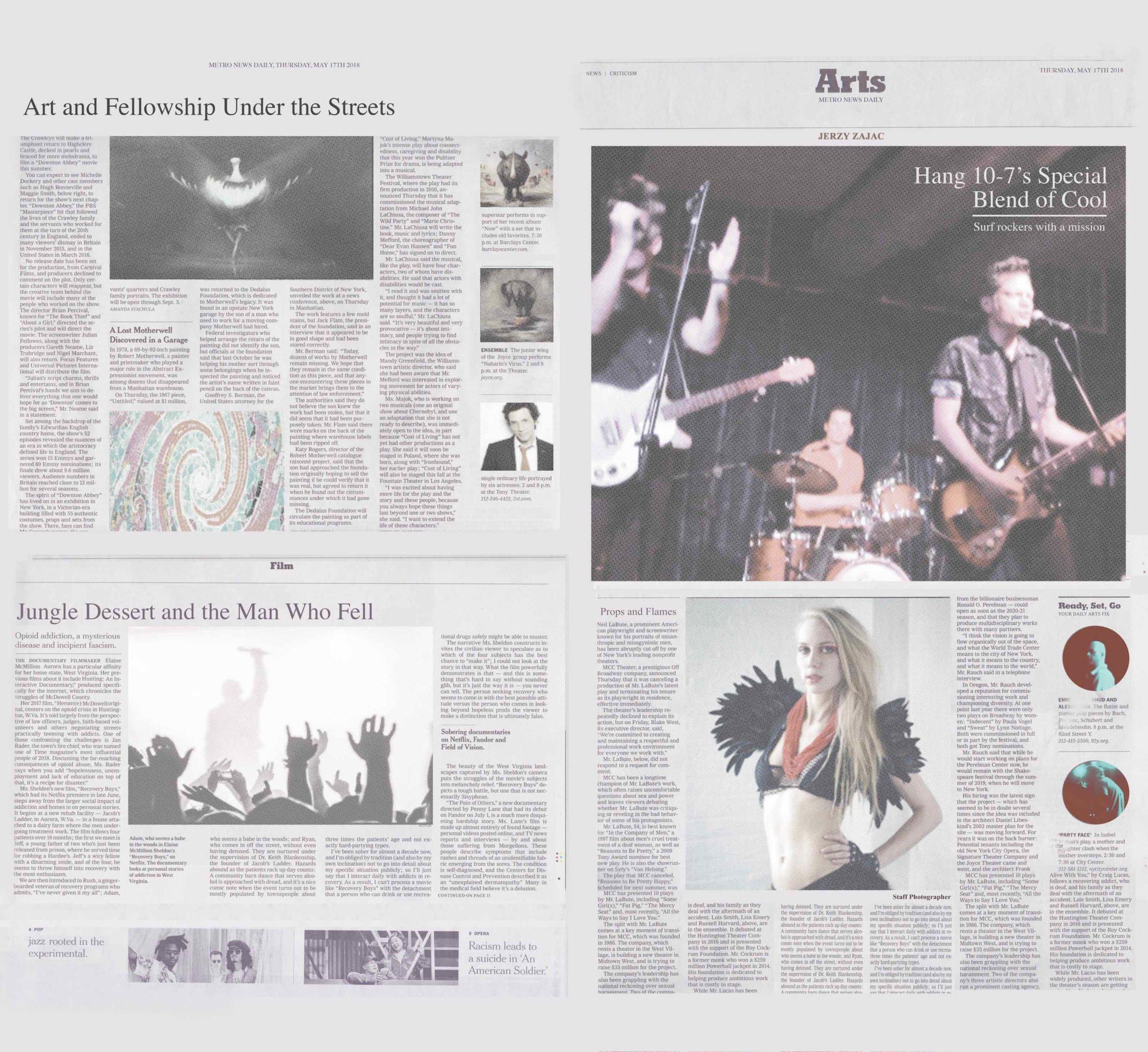 Metro Arts Frontpage Sheet
